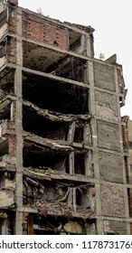 Building war zone bombed bullet holes Belgrade destroyed