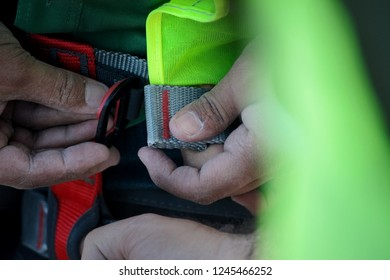 Building worker in green construction vest