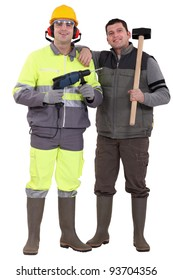 Building workers isolated on white background