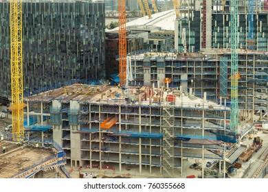 Building works at Victoria docklands, London Uk