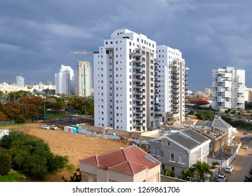 Building yard of Housing construction of houses in a new area of the city Holon in Israel