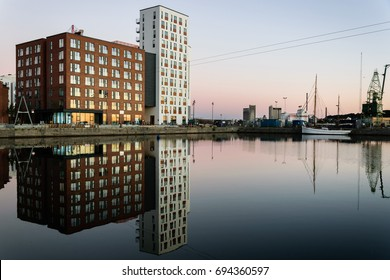 Buildings in Aalborg, Denmark. Reflections in the water