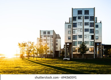 Buildings in Aalborg, Denmark. Sunrise