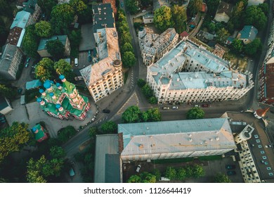 Buildings from above in city district