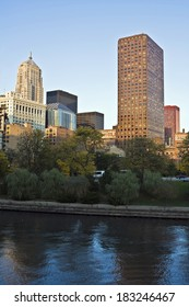 Buildings along Chicago River before cunset.