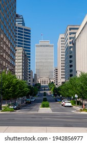 Buildings along Deaderick St in downtown Nashville, Tennessee, United States of America.