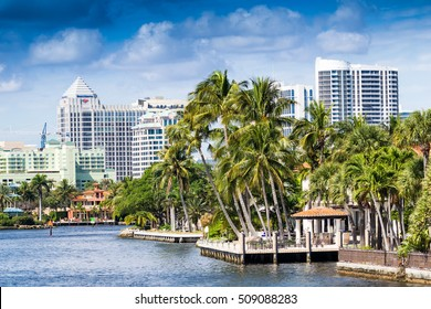 Buildings along Fort Lauderdale canals, Florida.