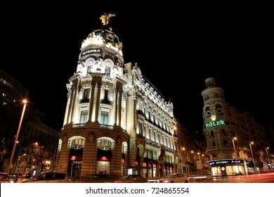 Buildings along Gran Via in light decoration, Madrid, Spain. Jan. 17, 2015