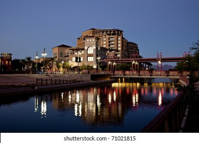 Buildings along the Salt River Project canal in Scottsdale Arizona's waterfront district.