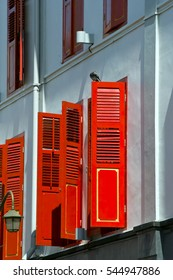 Buildings along streets of Singapore Asia shophouses abstract life on walkway