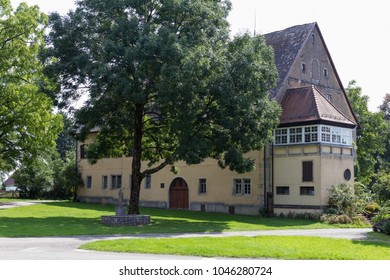 buildings and architecture details around chapel of a historical village in south germany
