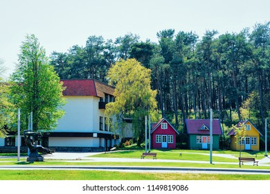 Buildings architecture in Nida resort town near Klaipeda in Neringa in the the Baltic Sea and the Curonian Spit in Lithuania.