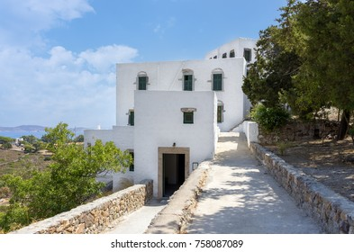 The buildings around the cave of the Apocalypse of Saint John in Patmos island, Dodecanese, Greece