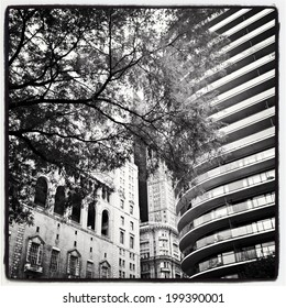 Buildings around Central Park in New York City. Black and white Instagram filter used.