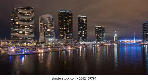 Buildings around the Dockland area of Melbourne illuminated at night
