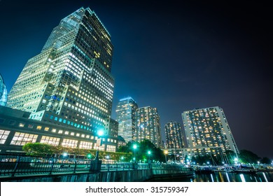 Buildings in Battery Park City at night, in Lower Manhattan, New York.