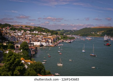 Buildings and boats on the Dartmouth Harbour in Devon, southern England