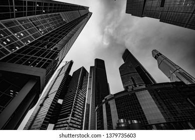 Buildings business center from the bottom up black and white