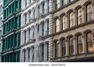 Buildings with cast iron architecture in Soho district of New York City