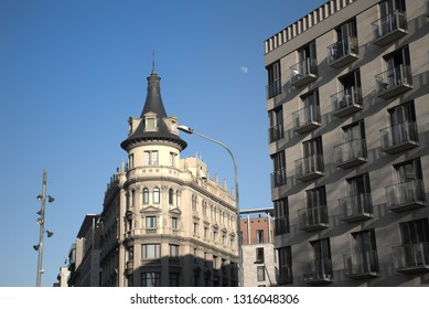 Buildings in the center of Barcelona city