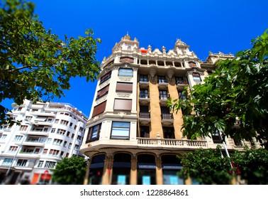 buildings in central district of San Sebastian town, Spain