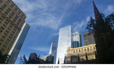 Buildings and church in Manhattan