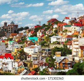 Buildings of a city of Antananarivo in sunny day. Madagascar
