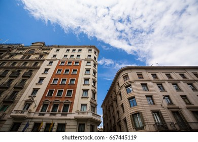 Buildings in the city centre of Barcelona, Spain