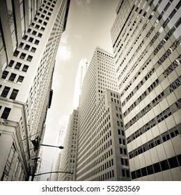 Buildings of a City Skyline, vintage monochrome