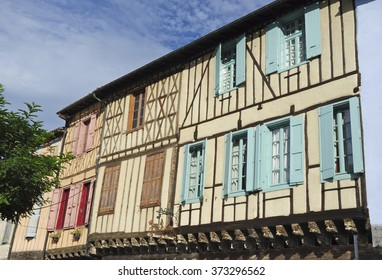 Buildings of the Couverts in the central square, Mirepoix, Ariege, Midi-Pyrenees, France