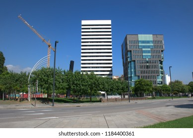 Buildings with a crane construction