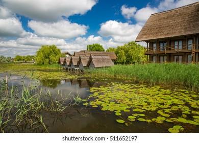 Buildings in Danube Delta, Romania.