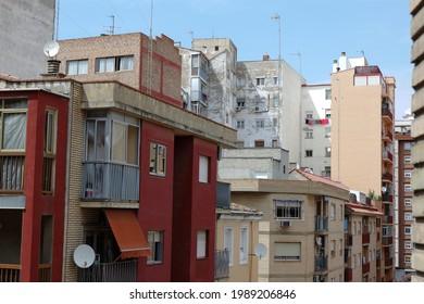 Buildings in Delicias district where mostly elderly Spanish citizens and immigrants live. Cheapest real estate in Zaragoza city, Spain