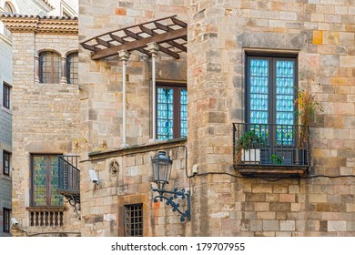 Buildings details in old part of Barcelona called Gothic Quarter.