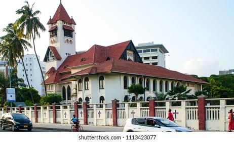 Buildings of downtown Dar es Salaam, Tanzania circa December 2017