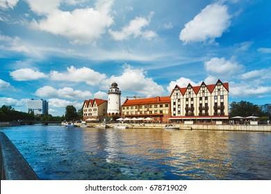 Buildings of Fishing Village in Kaliningrad, Russia