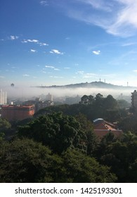 Buildings with fog in southern city of brazil