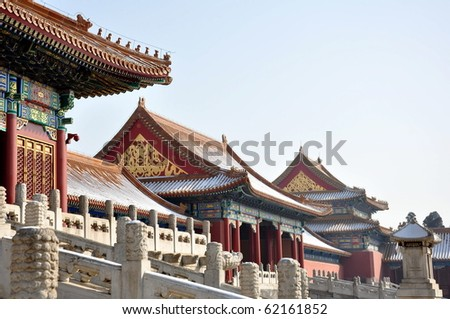 Buildings in the Forbidden City in Bejing, China