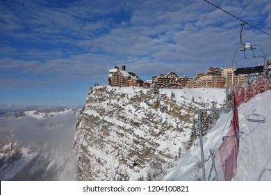 Buildings in the French ski resort of Avoriaz perched high on the cliff edge above the ski slopes.