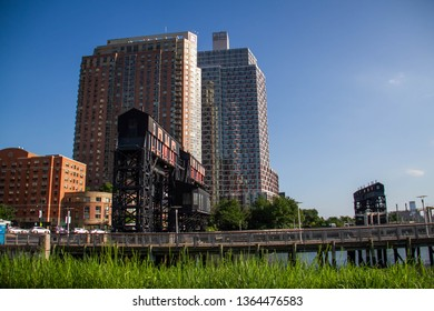 Buildings and Gantry Plaza State Park at Long Island City in summer, New York
