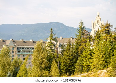 Buildings and homes of Whistler in summer season, canada.