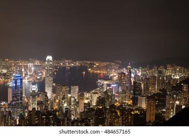 buildings of Hong Kong at night from Victora Peak