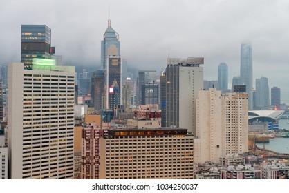 Buildings of Hong Kong at sunset.