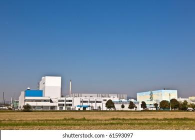 buildings of an Industry Park in beautiful landscape near Frankfurt
