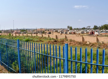Buildings in informal settlements hidden in the eastern part of pretoria in south africa symbolizing the division in the country with its wealth and unbelievable poverty between the poor and the rich
