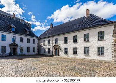 Buildings inside the Bergenhus fortress in Bergen, Norway.