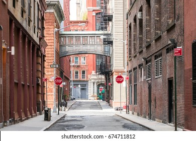 Buildings at the intersection of Staple Street and Jay Street in the historic Tribeca neighborhood of Manhattan, New York City NYC