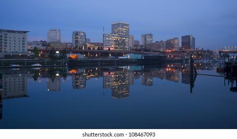 Buildings Line Thea Foss Waterway Downtown Tacoma Washington Waterfront