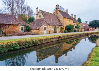 Buildings in Lower Slaughter near Bourton on the Water in the Cotswolds in England