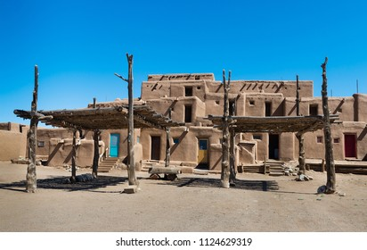 Buildings made out of Adobe. Taos Pueblo, New Mexico, continuously inhabited for over 1000 years.